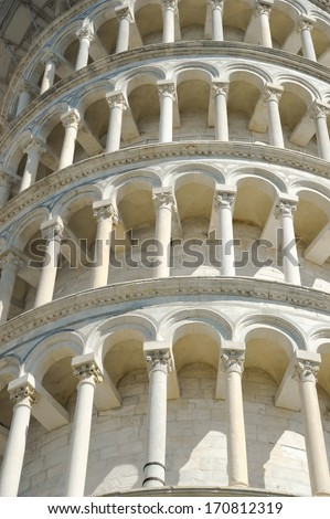The Leaning Tower of Pisa in Piazza dei Miracoli in Pisa, Italy.