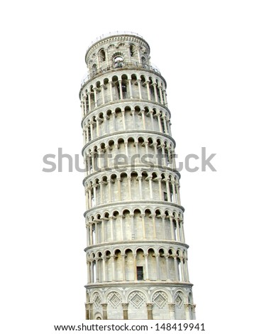 The Leaning Tower of Pisa isolated on white