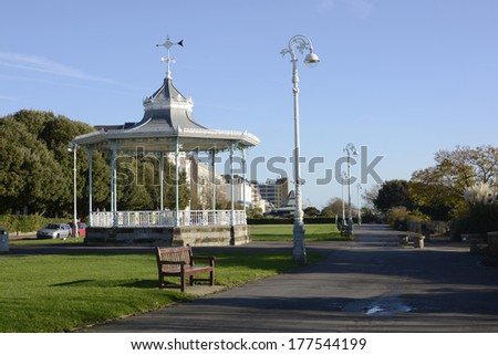 The Leas clifftop promenade at Folkestone in Kent. England - stock photo