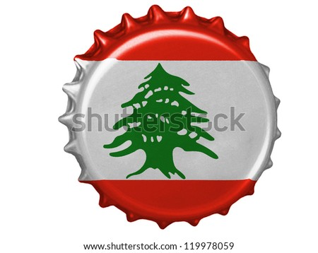 The Lebanese flag painted on stopper - stock photo