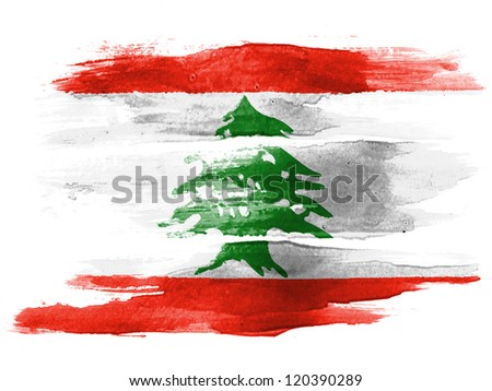 The Lebanese flag painted on white paper with watercolor