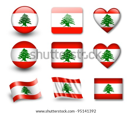 The Lebanese flag - set of icons and flags. glossy and matte on a white background. - stock photo
