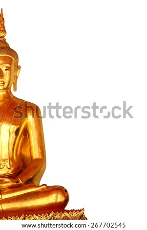 the left side meditation buddha statue in buddhist temple at bangkok, thailand, isolated on white background - stock photo