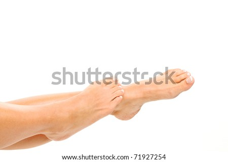 The legs of a woman against a white background.