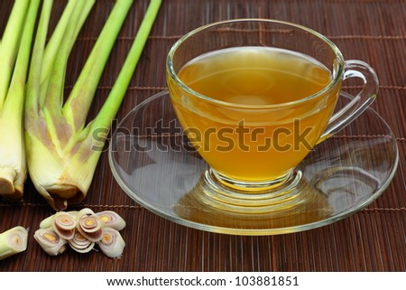 The lemon grass and lemon grass tea. - stock photo