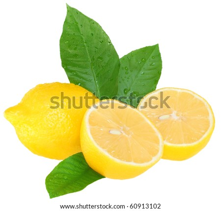 The lemon on a white background.