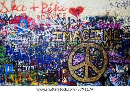 the Lennon wall in Prague - stock photo
