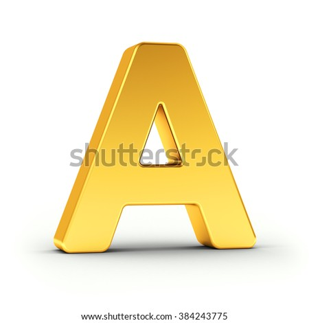 The Letter A as a polished golden object over white background with clipping path for quick and accurate isolation. - stock photo