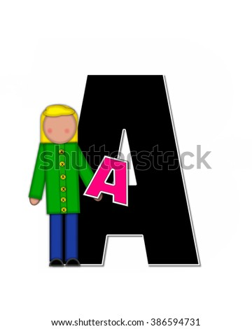 "The letter A, in the alphabet set ""Children Playing ABCs"" is black outlined with white.  Children hold up colorful, matching, alphabet letter. - stock photo"