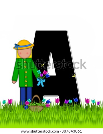 "The letter A, in the alphabet set ""Children Tulip Patch"" is black outlined with white.  Children hold tulip bouquet and stand in colorful tulip patch. - stock photo"