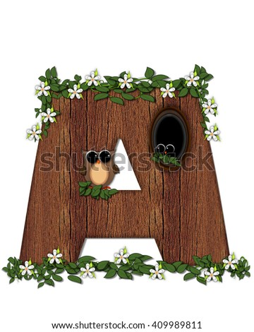 "The letter A, in the alphabet set ""Log Home"" is filled with wood texture.  Flower bloom on vines hanging on letter.  One owl hides in knothole and the other outside the stump home.  - stock photo"