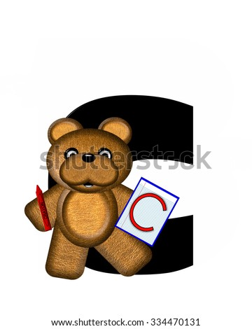 "The letter A, in the alphabet set ""Teddy Homework,"" is black with white background.  Brown Teddy Bear decorates letter and is holding homework paper with matching alphabet letter."