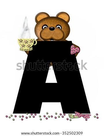 """The letter A, in the alphabet set """"Teddy Tea Time,"""" is black.  Teddy bear enjoys a cup of hot tea with heart shaped and frosted cookies.  Candy sprinkles cover floor. - stock photo"""