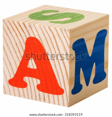 The letter A. wooden blocks with letters of the English alphabet isolated on a white background - stock photo