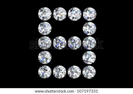 The letter B 3d diamond art illustration - stock photo