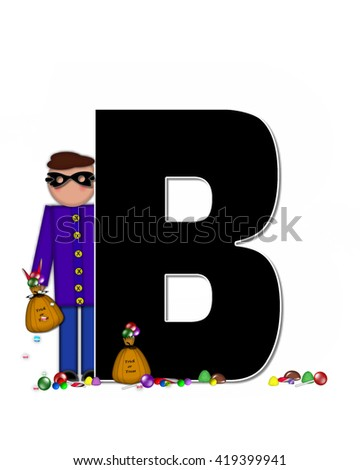 "The letter B, in the alphabet set ""Children Trick or Treat"" is decorated a child holding a bag of trick or treat candy.  Candy sits at child's feet and child wears a black, Halloween mask. - stock photo"