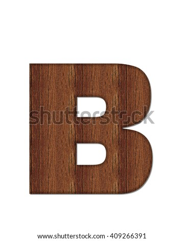"The letter B, in the alphabet set ""Wood Grain"" resembles paneling or finished wood grain. - stock photo"