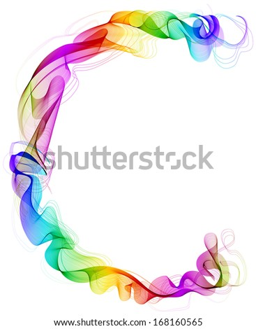 The letter C. Abstract colorful letter of beautiful smoke waves over white