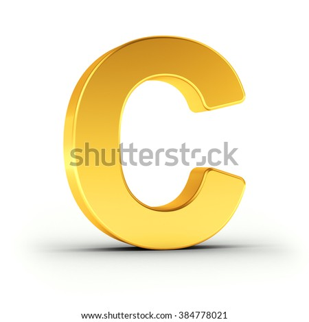 The Letter C as a polished golden object over white background with clipping path for quick and accurate isolation. - stock photo