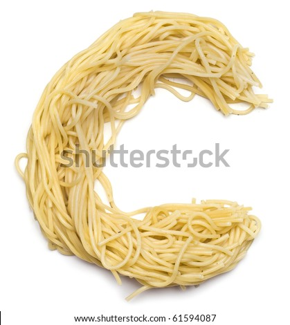 The letter C in spaghetti - stock photo