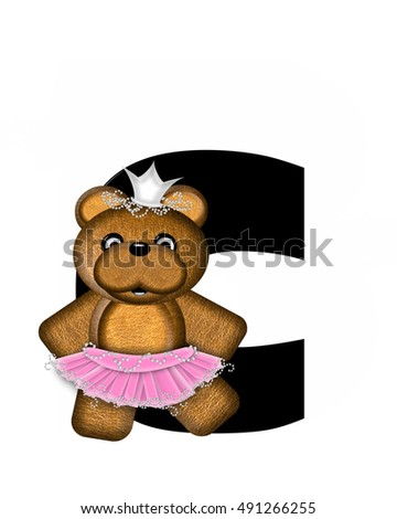 "The letter C, in the alphabet set ""Ballerina Princess"" is bright black.  Letter is decorated brown bear wearing a pink tutu and jeweled crown."