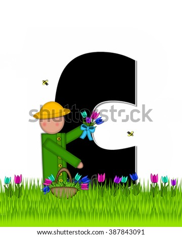 "The letter C, in the alphabet set ""Children Tulip Patch"" is black outlined with white.  Children hold tulip bouquet and stand in colorful tulip patch. - stock photo"