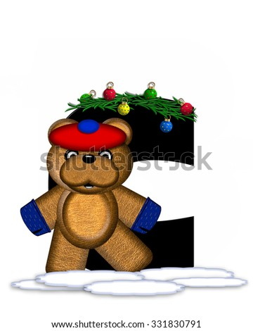 """The letter C, in the alphabet set """"Teddy Christmas Boughs,"""" is black and sits on pile of snow.  Teddy Bear wearing cap and mittens, decorates letter with Christmas boughs and ornaments. - stock photo"""