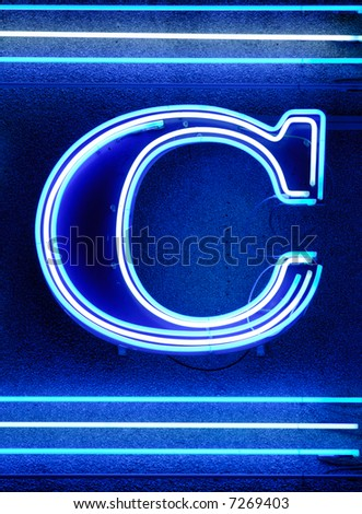 "The letter ""C"" shown with neon lights - stock photo"