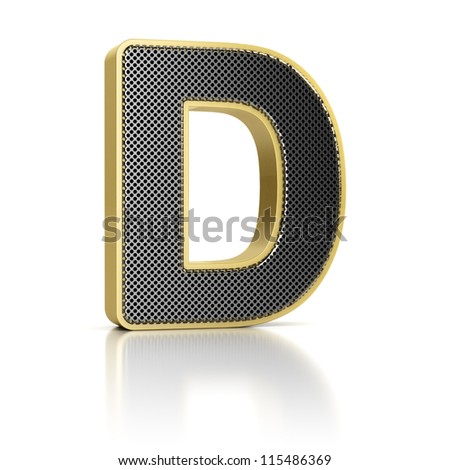 The letter D as a perforated metal object over white - stock photo