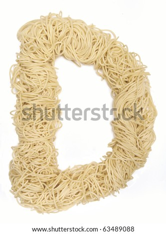 The letter D in spaghetti - stock photo