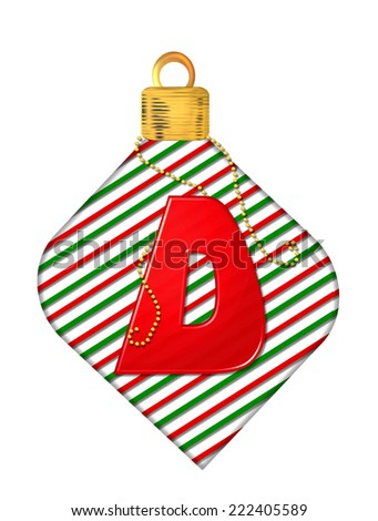 "The letter D, in the alphabet set ""Pinstripe Ornament"", is red.  Letter sits on red and green striped Christmas ornament. - stock photo"