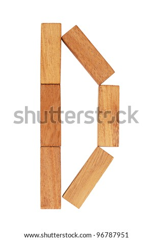The letter D is made ??up of wooden blocks