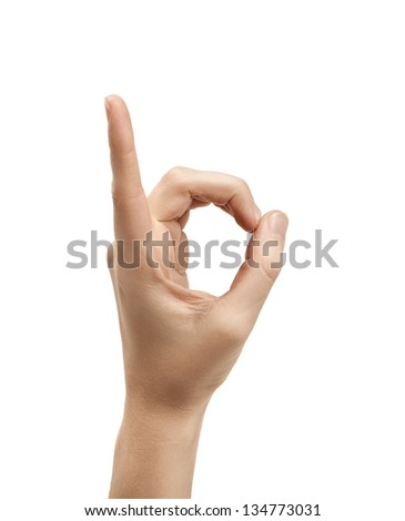 The letter D using American Sign Language - stock photo