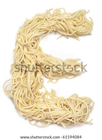 The letter E in spaghetti - stock photo