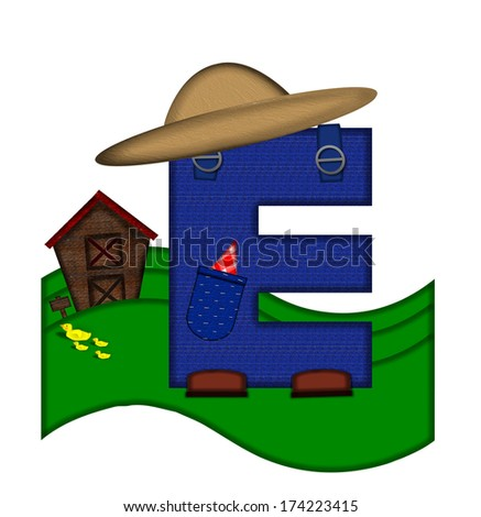 """The letter E, in the alphabet set """"Down on the Farm,"""" is dressed in denim overalls complete with pockets.  Letter sits on farm scene with rolling hills, barn, and ducks. - stock photo"""