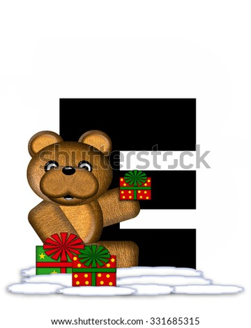 "The letter E, in the alphabet set ""Teddy Christmas,"" is black and sits on pile of snow.  Teddy Bear and presents decorate each letter."