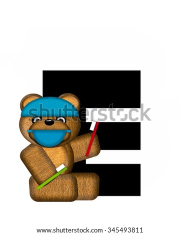 "The letter E, in the alphabet set ""Teddy Dental Checkup,"" is black.  Teddy bear wearing a dental mask and hat represents dentist holding various dental tools.   - stock photo"