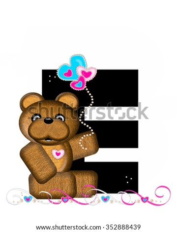 """The letter E, in the alphabet set """"Teddy Valentine's Cutie,"""" is black.  Brown teddy bear holds heart shaped balloons in pink and blue.  String of pearls serve as string. - stock photo"""