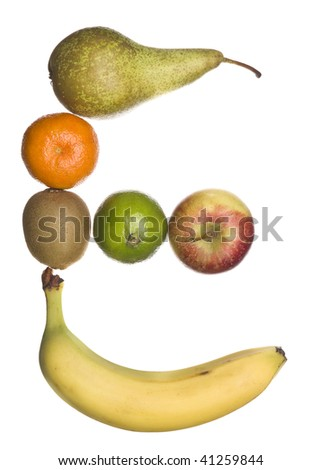 The letter 'E' made out of fruit isolated on a white background