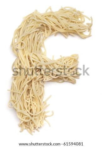 The letter F in spaghetti - stock photo