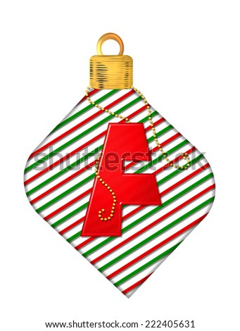 "The letter F, in the alphabet set ""Pinstripe Ornament"", is red.  Letter sits on red and green striped Christmas ornament. - stock photo"