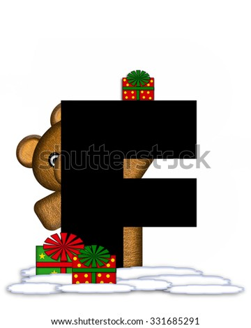 """The letter F, in the alphabet set """"Teddy Christmas,"""" is black and sits on pile of snow.  Teddy Bear and presents decorate each letter. - stock photo"""