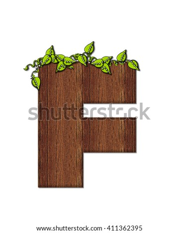 "The letter F, in the alphabet set ""Woodsy,"" is filled with wood grain and resembles a tree. Three dimensional vines are spread across top of letter."