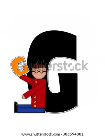 "The letter G, in the alphabet set ""Children Playing ABCs"" is black outlined with white.  Children hold up colorful, matching, alphabet letter. - stock photo"