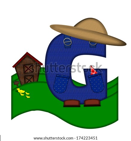 """The letter G, in the alphabet set """"Down on the Farm,"""" is dressed in denim overalls complete with pockets.  Letter sits on farm scene with rolling hills, barn, and ducks. - stock photo"""