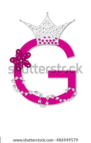 "The letter G, in the alphabet set ""Pageant Queen"" is bright pink and outlined with white.  Letter is decorated with crown, flower, and diamonds."