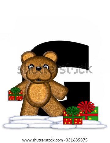"""The letter G, in the alphabet set """"Teddy Christmas,"""" is black and sits on pile of snow.  Teddy Bear and presents decorate each letter. - stock photo"""
