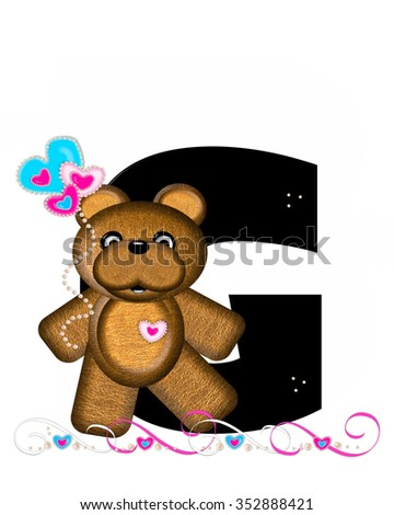 """The letter G, in the alphabet set """"Teddy Valentine's Cutie,"""" is black.  Brown teddy bear holds heart shaped balloons in pink and blue.  String of pearls serve as string. - stock photo"""