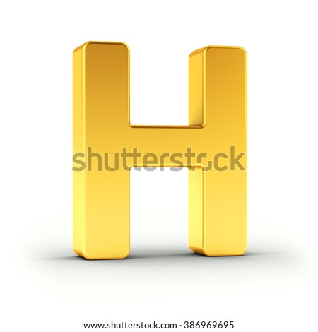 The Letter H as a polished golden object over white background with clipping path for quick and accurate isolation. - stock photo