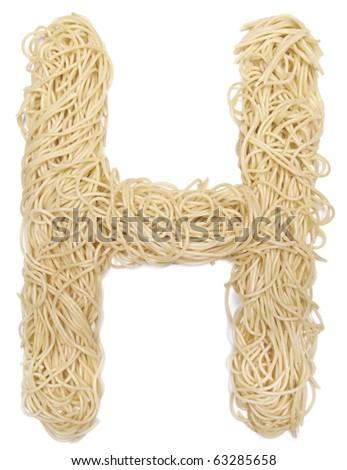 The letter H in spaghetti - stock photo